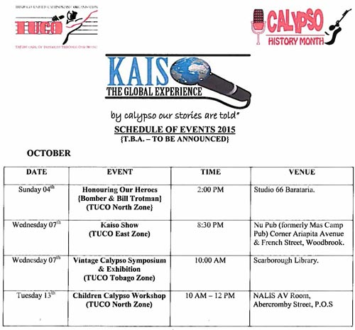 National carnival commission of trinidad and tobago ncc calypso history month kaiso the global experience schedule of events 2015 malvernweather Gallery