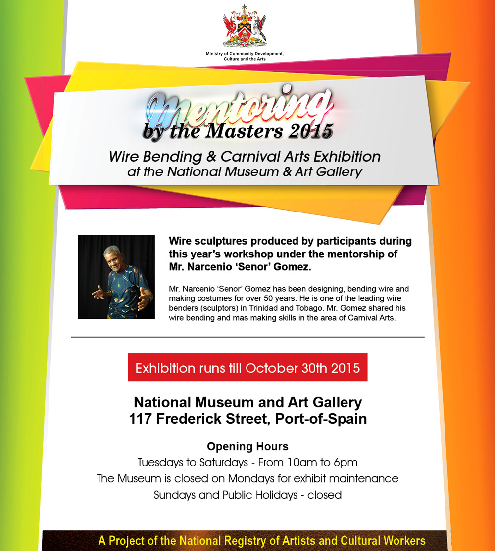 National carnival commission of trinidad and tobago ncc a wonderful exhibition on now until this friday 30th october 2015 at the national museum and art gallery featuring the work of participants of the malvernweather Choice Image