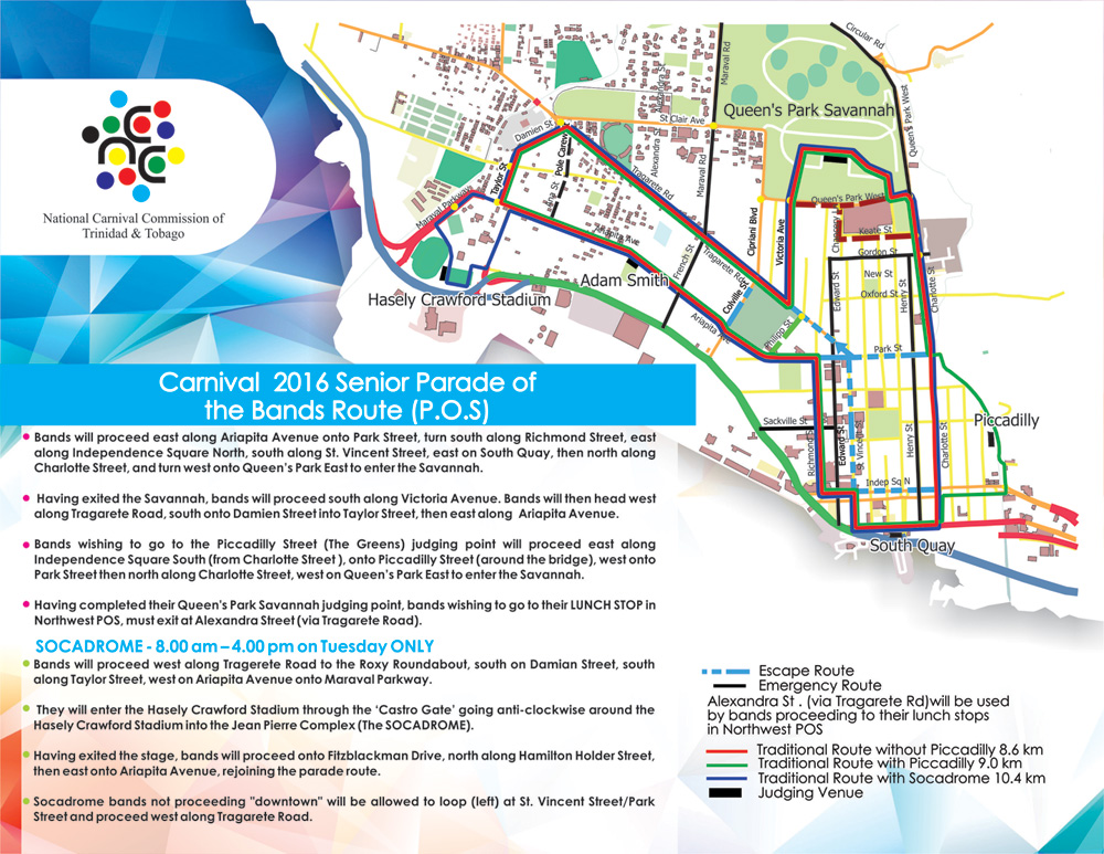 National carnival commission of trinidad and tobago ncc carnival 2016 parade of the bands route seniors pos malvernweather Choice Image